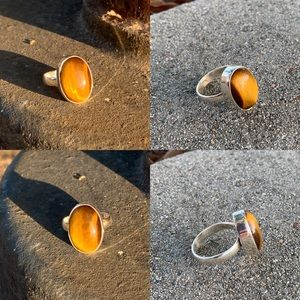 Silver 925 tiger's eye natural stone ring size 7